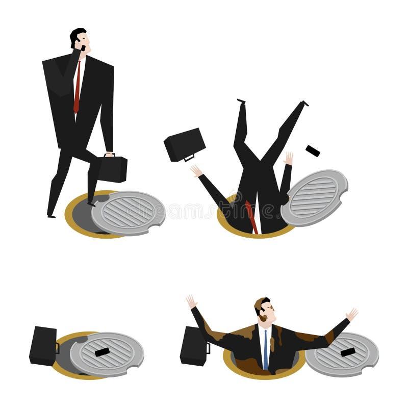 Biznesmen spadał Ściekowy lągu set Szef w manhole metro royalty ilustracja