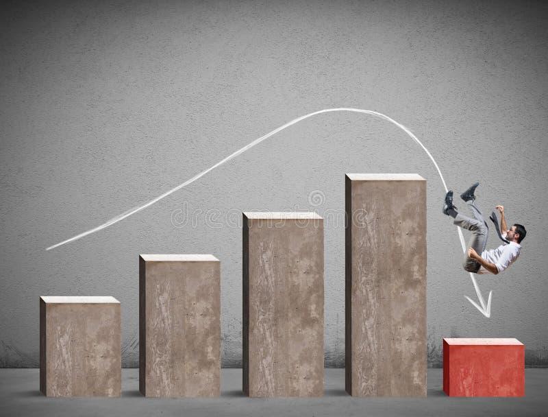 Biznesmen spada na negatywnej statystyki zdjęcie royalty free