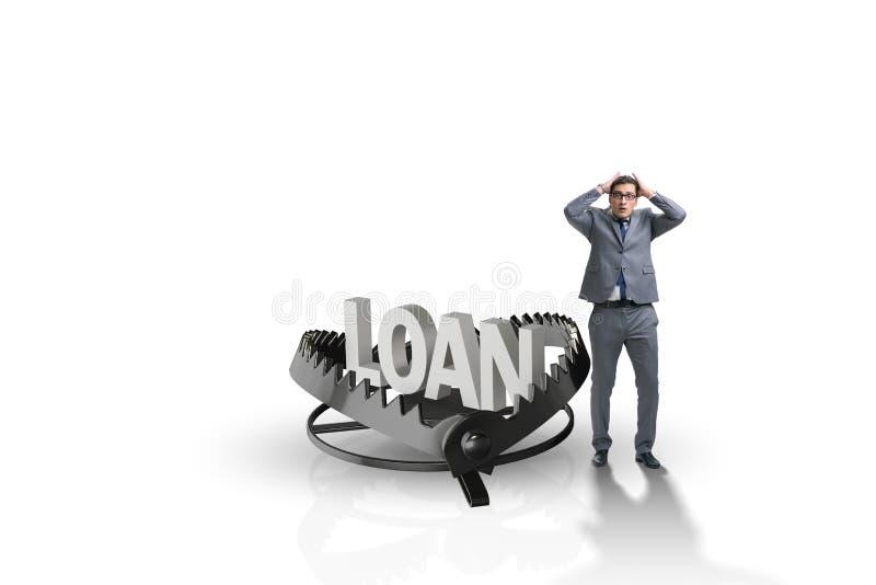 Biznesmen spada w oklepa pożyczka kredyt royalty ilustracja