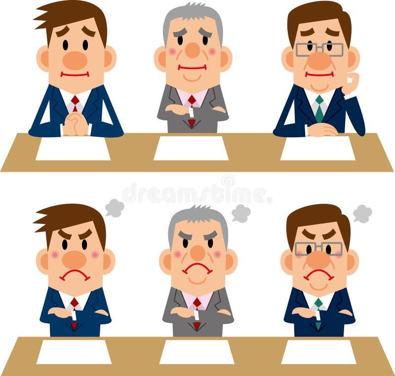 Biznesmen spotkania i wywiada ilustracja wektor