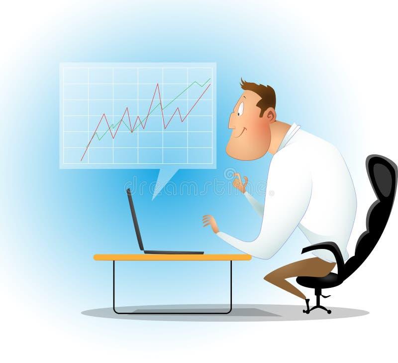 Biznesmen sprawdza donoszących zyski na laptopie i papierze ilustracji