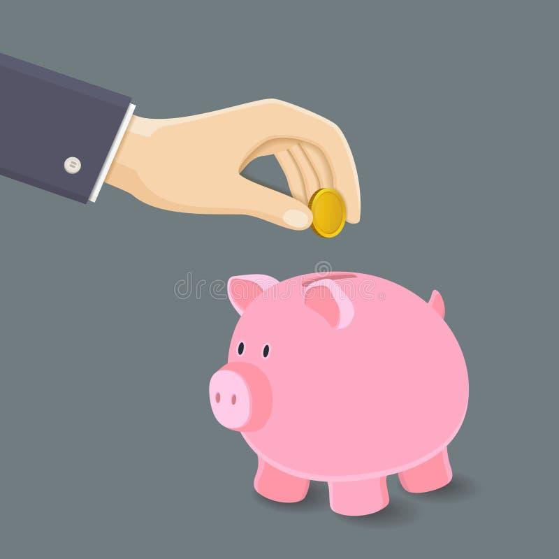 Biznesmen Stawiający cent na Różowym prosiątko banku ilustracji