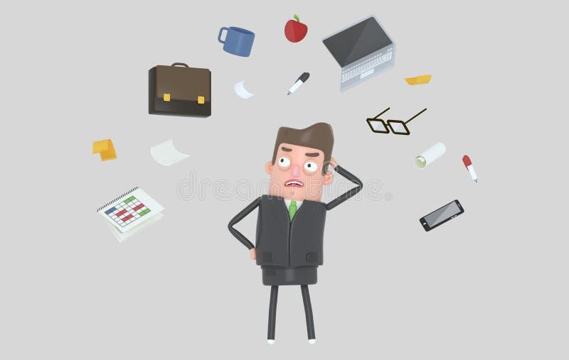 Biznesmen stresuje się patrzejący biurowych akcesoria odosobniony royalty ilustracja