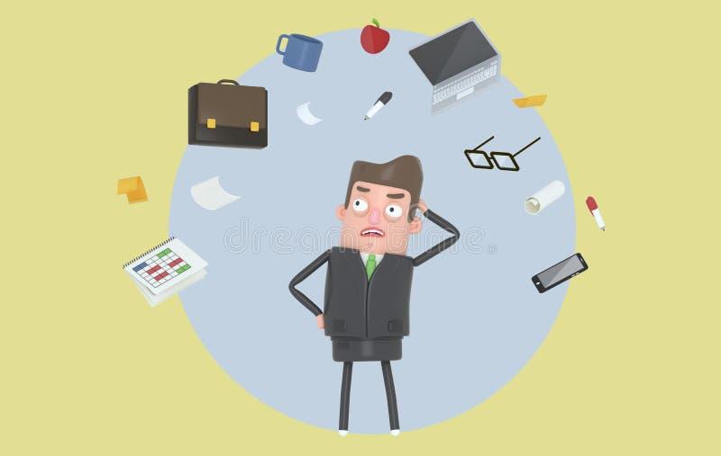 Biznesmen stresuje się patrzejący biurowych akcesoria Tło odosobniony royalty ilustracja