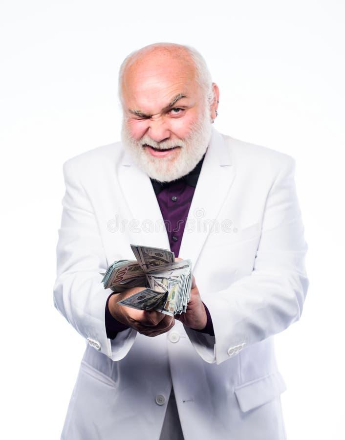 biznesmen sukces dojrzały brodaty mężczyzna z dolarowymi banknotami bogactwo dojrzały mężczyzna udziały pieniądze Emerytura Szcz? zdjęcie stock