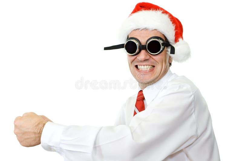 biznesmen szalony kapeluszowy Santa zdjęcia stock
