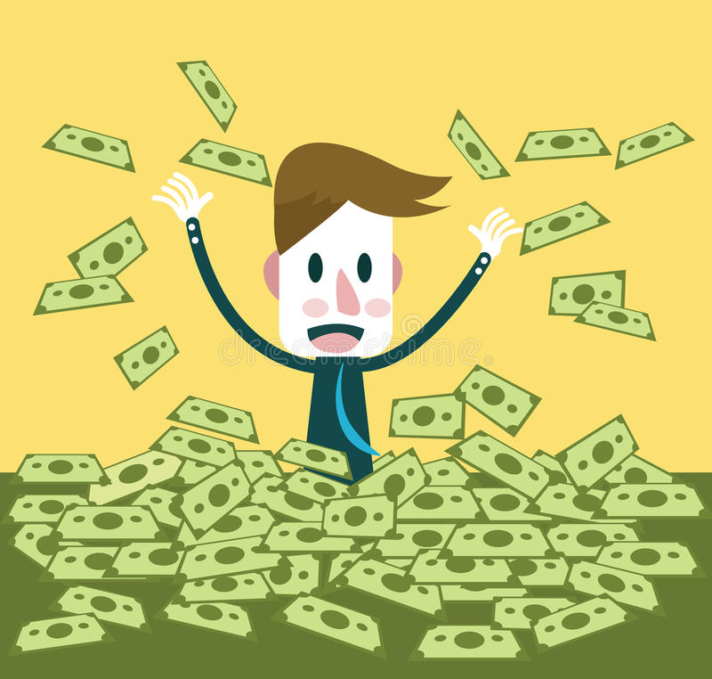 Biznesmen szczęśliwy z mnóstwo dolarowym banknotem ilustracja wektor