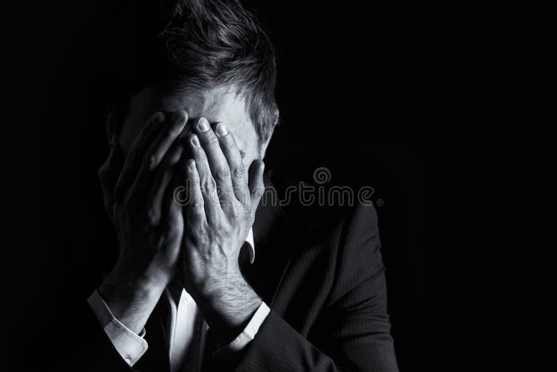 biznesmen target241_1_ desperacką twarz jego fotografia stock