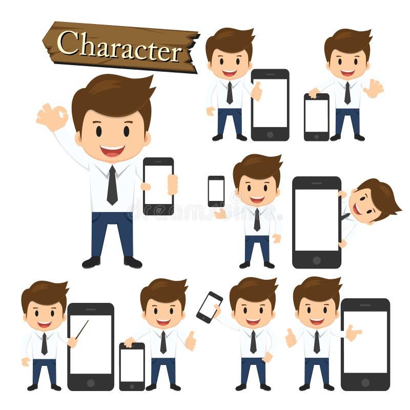 Biznesmen teraźniejszości telefonu charakter - ustalony wektor ilustracji