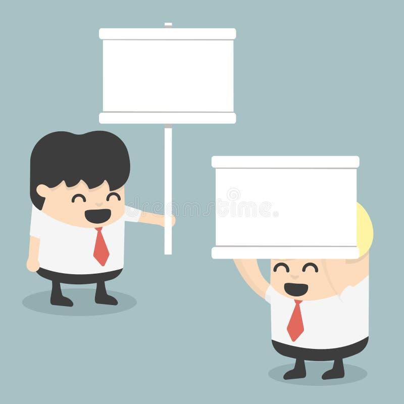 Biznesmen trzyma białego znaka royalty ilustracja