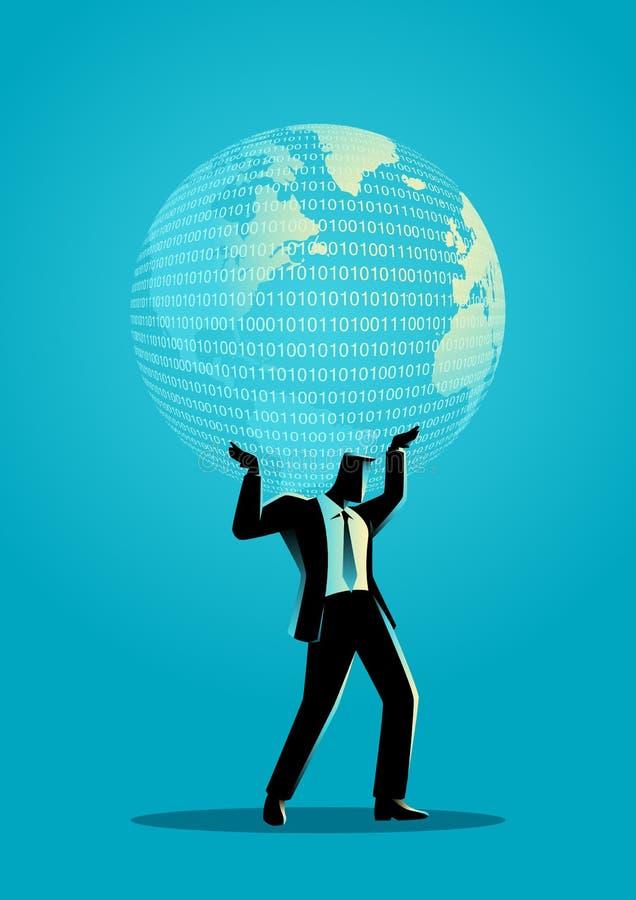 Biznesmen trzyma cyfrową kulę ziemską royalty ilustracja