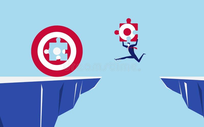 Biznesmen trzyma część celu doskakiwanie przez przerw przeszkod wypełniać dużego sukces i cel między wzgórzem ilustracji