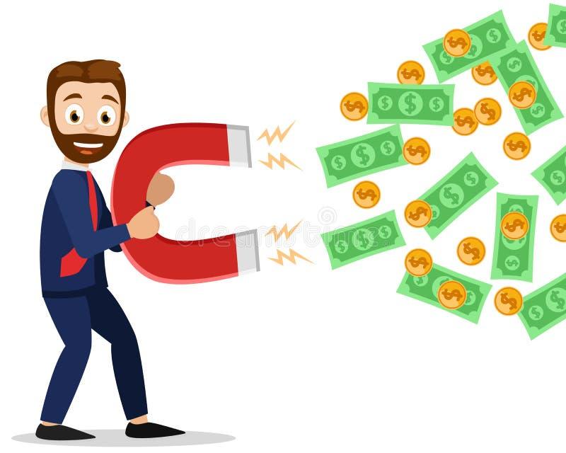 Biznesmen trzyma dużego magnes i przyciąga pieniądze ilustracji