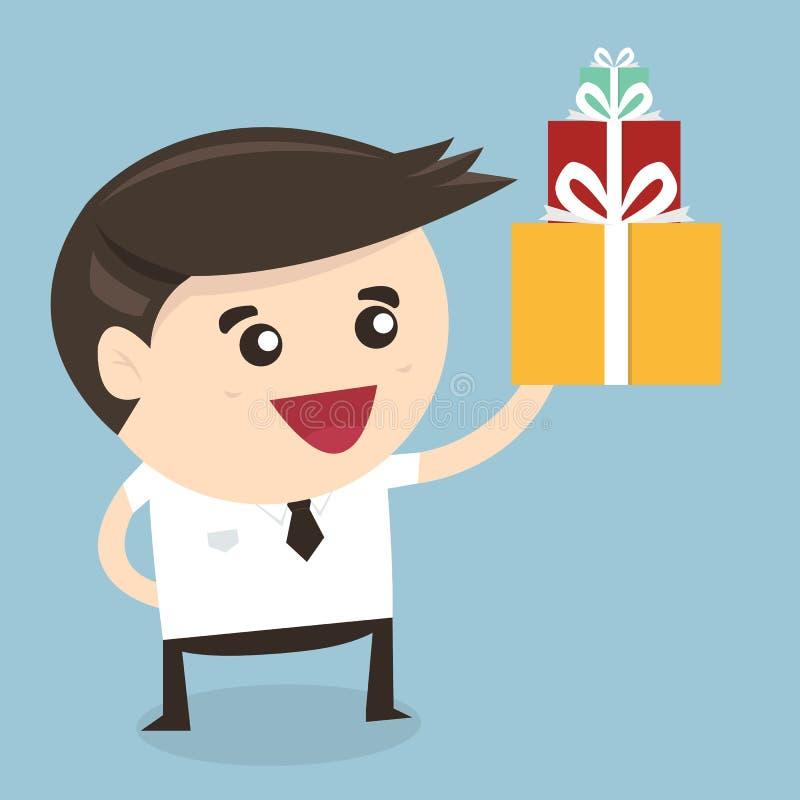 Biznesmen trzyma dużą prezenta pudełka Bożenarodzeniową teraźniejszość ilustracji