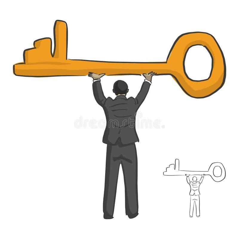 Biznesmen trzyma dużego złotego klucz nad jego kierowniczym wektorowym illustra ilustracji