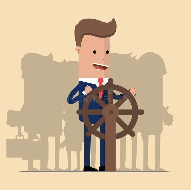 Biznesmen trzyma kierownicę i jego drużyny przy plecy Wygrany, wiodący i podporowy pojęcie, również zwrócić corel ilustracji wekt royalty ilustracja
