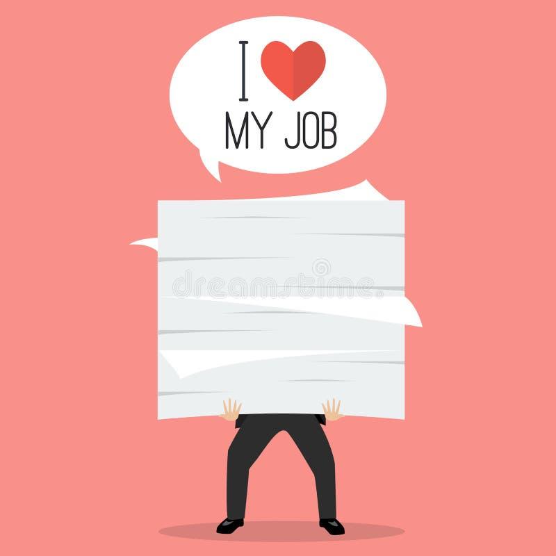 Biznesmen trzyma mnóstwo dokumenty z słowem kocham mój pracę ilustracji