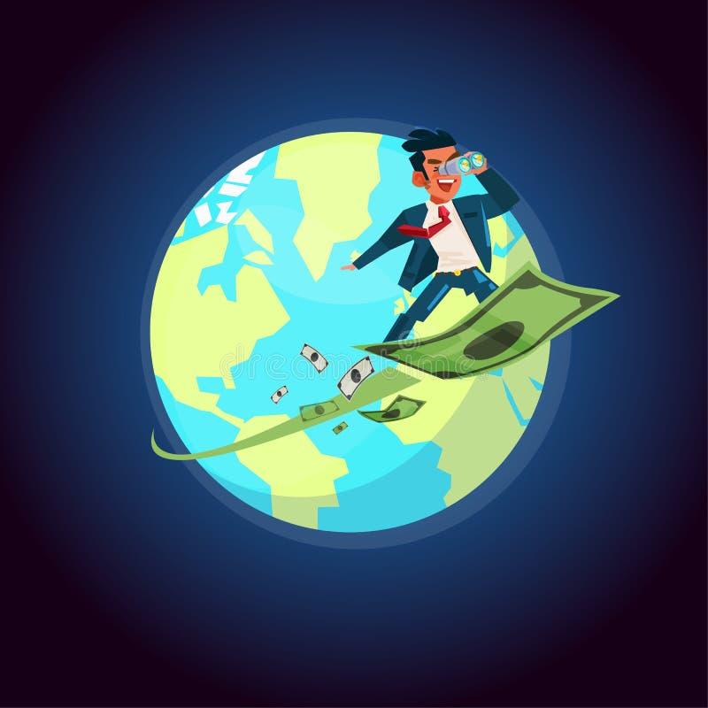 Biznesmen trzyma obuocznym na latającym pieniądze, komarnica wokoło wor ilustracja wektor