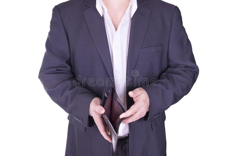 Biznesmen trzyma pustego portfel zdjęcia royalty free