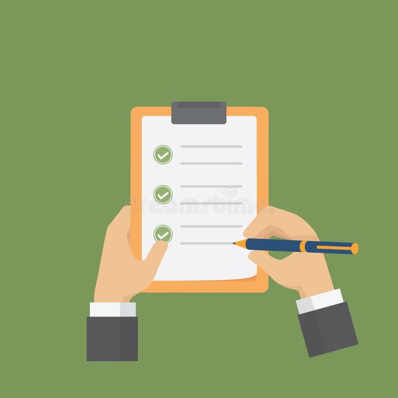 Biznesmen trzyma schowek i plombowanie lista kontrolna tworzy Płaska ankiety, listy kontrolnej ilustracja/ ilustracja wektor