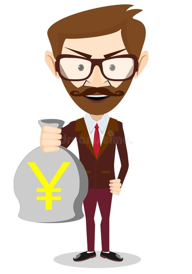 Biznesmen trzyma torbę pieniądze, wektor ilustracji