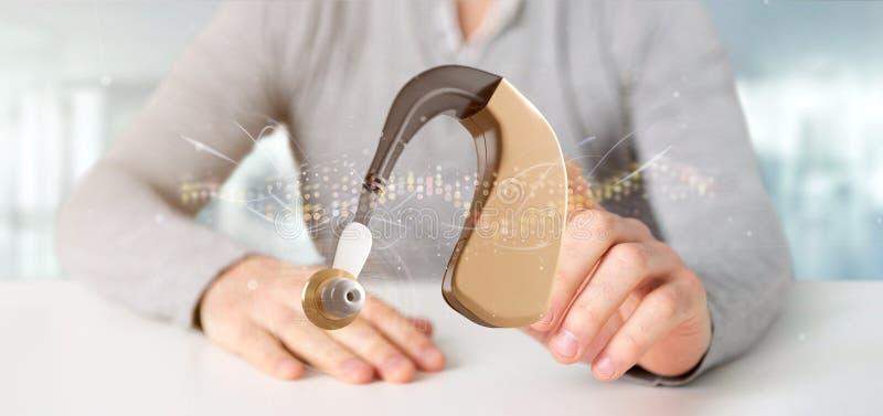 Biznesmen trzymający aparat słuchowy z falą sygnału - renderowanie 3d zdjęcie royalty free