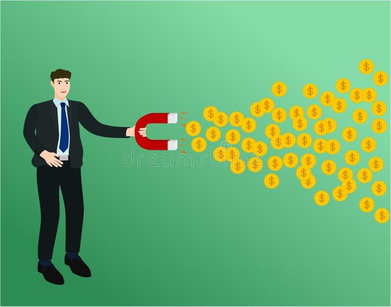 Biznesmen używa magnes przyciąga zysku pieniądze royalty ilustracja