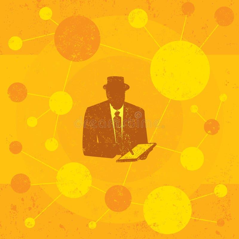 Biznesmen używać pastylka komputer ilustracja wektor