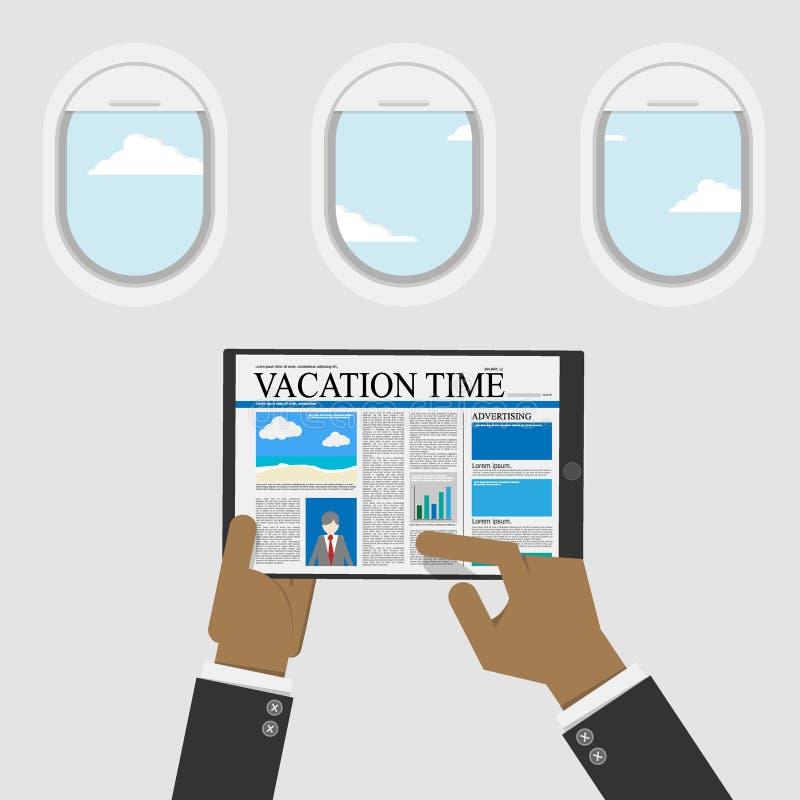 Biznesmen używa cyfrową pastylkę dla czytać zawartość o urlopowym czasie dla podróży informacji, płaski okno z niebo widokiem ilustracja wektor
