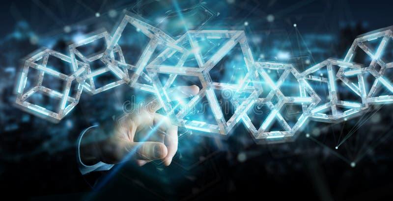 Biznesmen używa cyfrowego błękitnego Blockchain 3D rendering royalty ilustracja