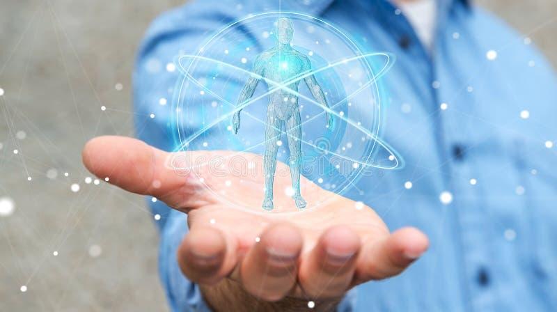 Biznesmen używa cyfrowego promieniowania rentgenowskiego ciała ludzkiego obrazu cyfrowego interfejs 3D ren royalty ilustracja
