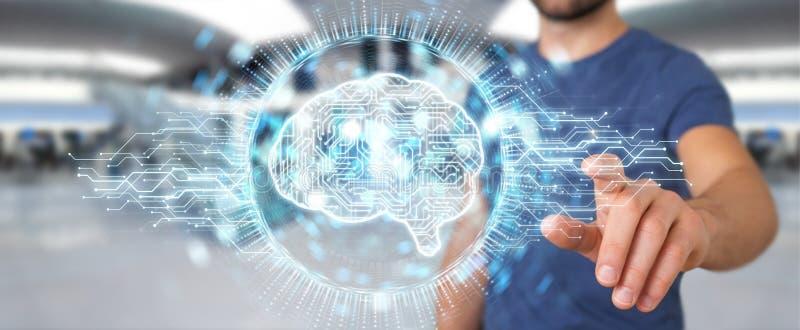 Biznesmen używa cyfrowego sztucznej inteligenci ikony hologram