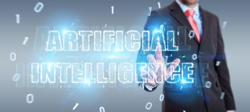 Biznesmen używa cyfrowego sztucznej inteligencji teksta holograma 3D rendering
