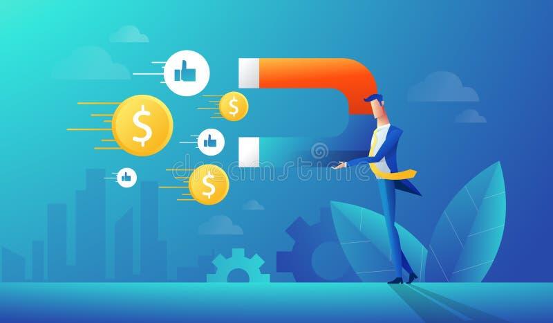 Biznesmen używa dużego magnes przyciągać pieniądze Wektorowa grafiki ilustracja pomyślny biznesowy pomysł, pieniężny ilustracja wektor