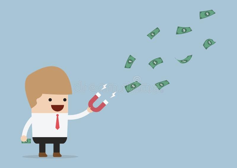 Biznesmen używa magnes przyciąga pieniądze royalty ilustracja