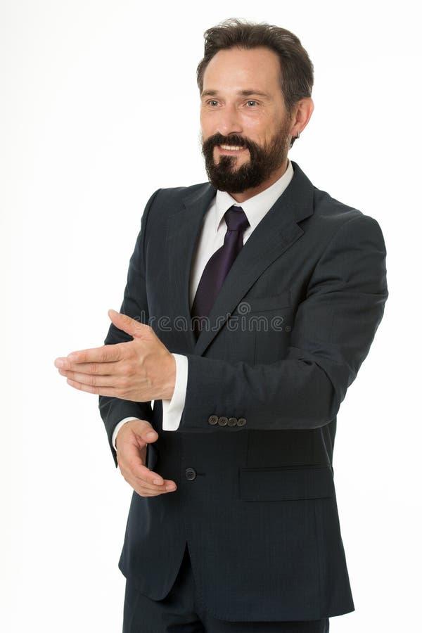 Biznesmen uradowany spotykać ciebie Biznesmena kostiumu formalnego dojrzałego mężczyzny odosobniony biel Biznesmena brodaty przys zdjęcie stock