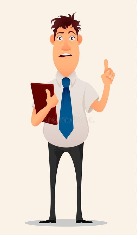 Biznesmen, urzędnik Nowożytny kreatywnie młody człowiek z falcówką w jego ręki ilustracji