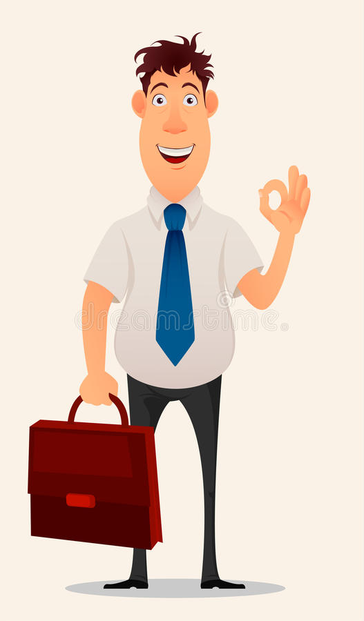 Biznesmen, urzędnik Nowożytny kreatywnie uśmiechnięty młody człowiek z teczką pokazuje OK gest Kreskówka śliczny projekt royalty ilustracja