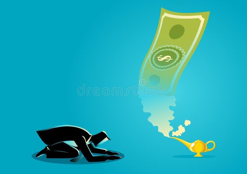 Biznesmen uwielbia pieniądze ten pojawiać się od magicznej lampy ilustracja wektor