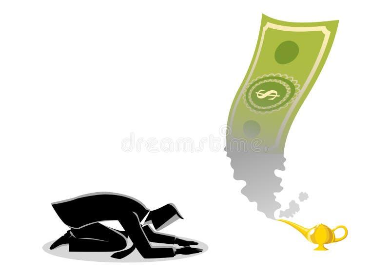 Biznesmen uwielbia pieniądze ten pojawiać się od magicznej lampy royalty ilustracja