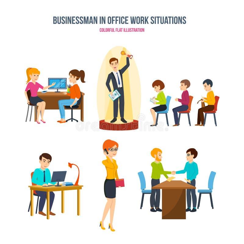 Biznesmen w biurowej pracy sytuacj pojęciu: dyskusja, konferencja, komunikacje, partnerstwa royalty ilustracja