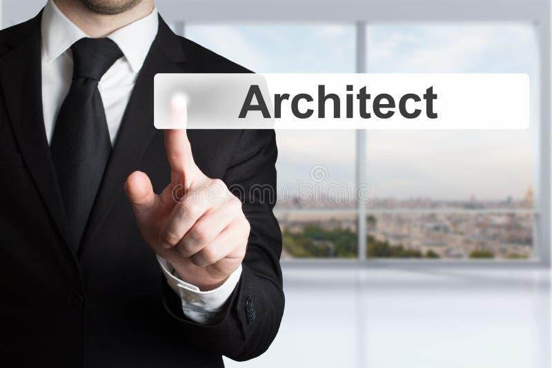 Download Biznesmen W Biurowym Dosunięcie Guzika Architekcie Zdjęcie Stock - Obraz złożonej z architekt, budowniczy: 53793518