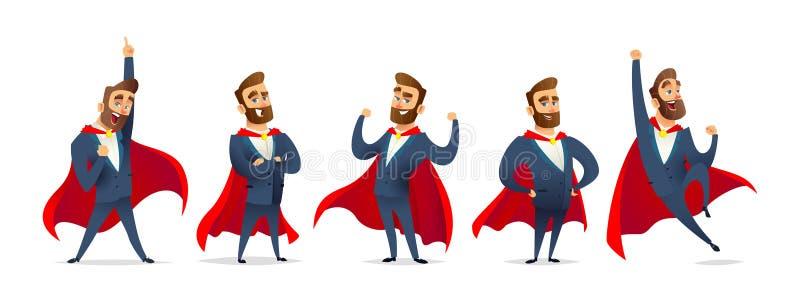 Biznesmen w bohatera kostiumu Charakter kolekcja biznesowy bohater w różnorodnych pozach Super kierownika set royalty ilustracja