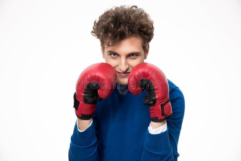 Biznesmen w bokserskich rękawiczkach obraz stock
