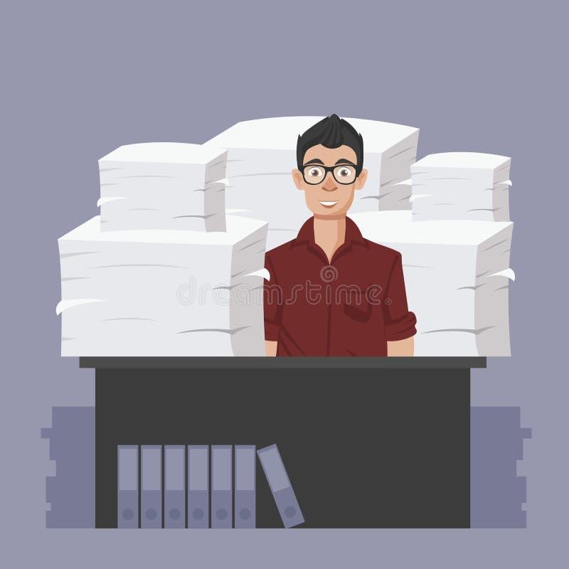 Biznesmen?w chwyt?w stos biuro tapetuje i dokumenty Dokumenty i kartoteki rutyna, biurokracja, du?y dane, papierkowa robota, biur royalty ilustracja