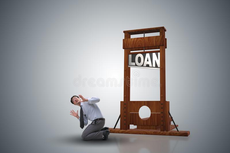 Biznesmen w długu i pożyczki pojęciu royalty ilustracja