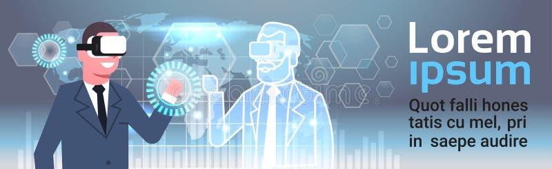 Biznesmen W 3d Hearset Używać Cyfrowego interfejs Z Światowej mapy tła rzeczywistości wirtualnej innowaci pojęciem ilustracja wektor
