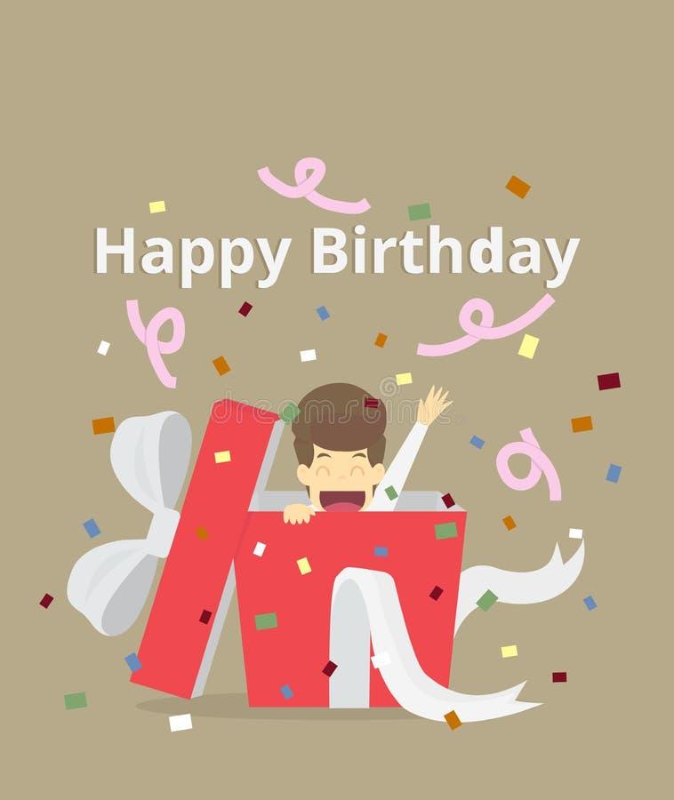Biznesmen w dużym prezenta pudełku szczęśliwy urodziny ilustracja wektor