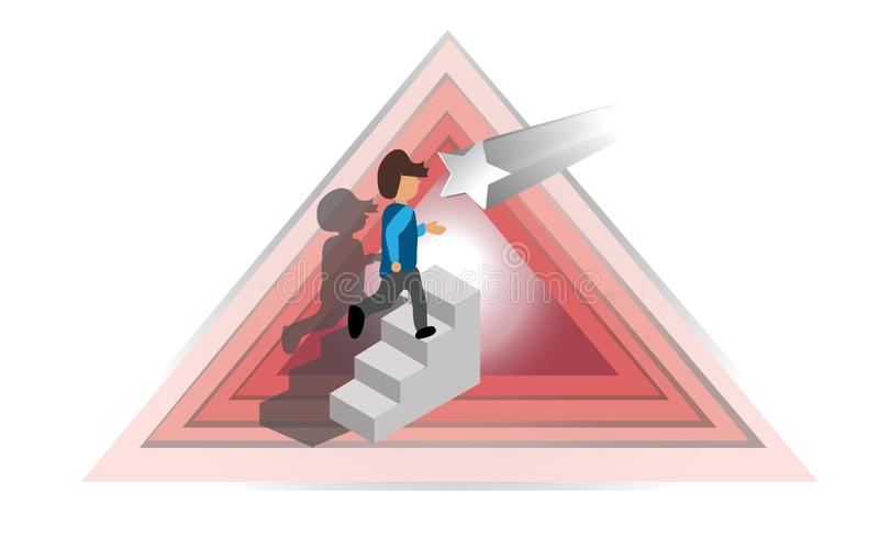 Biznesmen w górę schodków zbiera stelarnych okno w różowym trójboku brogującym na białym tle, ilustracja, wektor royalty ilustracja