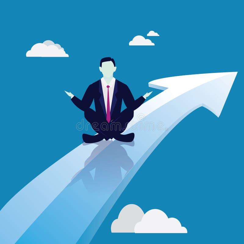 Biznesmen w joga pozyci Spokój Relaksuje W biznesie ilustracji